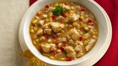 Broth-based chili is teeming with chicken, whole kernel corn and great northern beans.