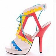Sandaler ( Multifärgad ) - till KVINNOR Stiletto klack - Klackar/Platå/T-rem/Sling/Mary Jane/Baspump/Öppen tå/Ankle Rem - i Flocking/Läder