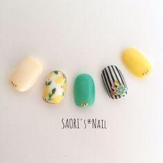 Resale [Postage] lemon × stripe ♡ nail c Nail Art Diy, Cool Nail Art, Diy Nails, Cute Nails, Pretty Nails, Spring Nails, Summer Nails, Lemon Nails, Striped Nails