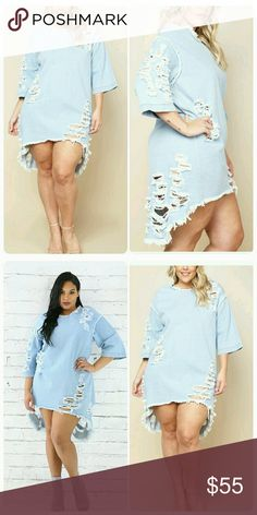 """Ripped Denim Dress (1X, 3X) Ripped Light Denim Dress. Pair with your favorite heels or sandals. 100% Cotton. Model is 5'8, Bust 44"""", Waist 34"""", Hip 45"""" and wearing 1X. Thank you and Happy Poshing!!! *Available March 6th * Dresses High Low"""