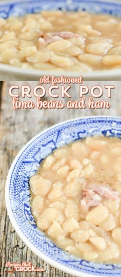 Old Fashioned Crock Pot Lima Beans and Ham - Recipes That Crock! Old Fashioned Crock Pot Lima Beans and Ham is a delicious way to try lima beans if you haven't tr Slow Cooker Beans, Crock Pot Slow Cooker, Crock Pot Cooking, Slow Cooker Recipes, Crockpot Recipes, Slow Cooker Ham And Beans Recipe, Cajun Cooking, Lima Bean Recipes, Bean Soup Recipes