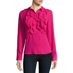 Karl Lagerfeld Paris Ruffled Blouse (5495 RSD) ❤ liked on Polyvore featuring tops, blouses, hot pink, see through blouse, sheer long sleeve blouse, transparent blouse, ruffle blouse and button front blouse
