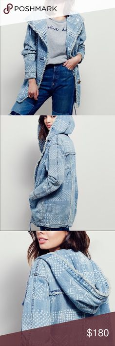 Free People chambray bleached jacket Free People patterned chambray bleached denim jacket with functional hood, large button front closure, can be cinched at waist. NWOT. Free People Jackets & Coats