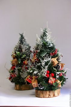 Купить Настольная мини елочка Лондон - ярко-красный, елка, настольная елка, новогодний декор