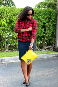 Plaid & POW! with the Comic Clutch.   via My Garments of Praise: Stand Out