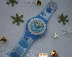 Blue Christmas felt ornament toy watch Felt toy watch Felt watch Toy watch New Year felt Christmas gift Christmas felt Felt toy Ornaments