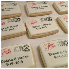 Edible favors are always a fan favorite. Decorate cookies with your names and wedding date so that your guests will be thinking of you as they get their sugar fix from the cookies below. @myweddingdotcom