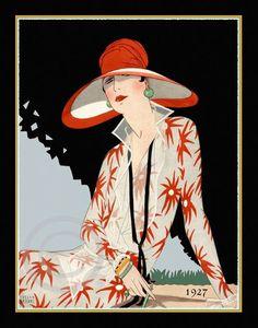 Beautiful Art Deco Lady in fabulous Red Hat Flowered Dress Wearing Deco Earrings Rings Bracelets   from 1927 Giclee Fine Art Print  11x14