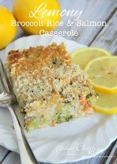 Lemony Broccoli Rice & Salmon Casserole - ONE BOWL and ONE DISH - foodiechicksrule