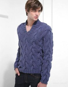 Men's Hand Knitted V-neck Sweater XS,S,M,L,XL,XXL Wool Hand Knit pullover 105 #Handmade #VNeck