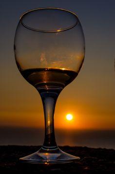 Sunset view, from Kefalonia island, Greece. Beautiful Sunrise, Big Island, Blue Crystals, Creative Photography, Wine Tasting, White Wine, Wines, Wine Glass, Greece