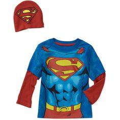 $10 Baby Boys' Superman 2-Piece Hangdown and Hat Set