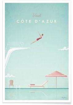 Côte d'Azur en Affiche premium par Henry Rivers | JUNIQE