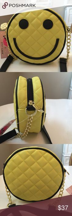 "Betsey Smiley Face Crossbody Bag Betsey Smiley face bag has. 52"" Crossbody gold chain accent strap. NWT Betsey Johnson Bags"