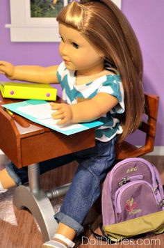 free printable American Girl doll sized school paper