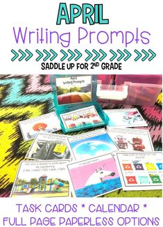 This set of 28 April themed writing prompts. These fun spring themed writing prompts come in a task card, calendar and full page version. Each card has a kid friendly writing prompt and a real life photo to match. Graphic organizers and writing paper are included. These are the perfect addition to your writing center.