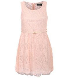Mimi Floaty Lace Sleeveless Skater Dress With Belt in Pink FRONT