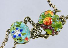 Detail of 1930 French Enamel Sterling Silver Necklace