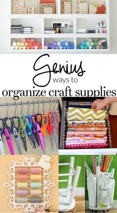 Genius Ways to Organize Craft Supplies - I searched the internet to share my favorite ways to organize craft supplies! Keep your craft supplies organized with these craft room organizing ideas