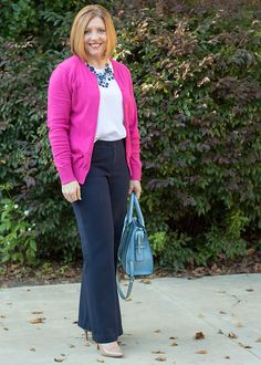 Savvy Southern Chic: Color coordinated, navy and hot pink, cardigan, work wear, office attire