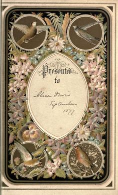 Victorian book plate (Presented to Alice Davis. September 1877). Found at archive.org
