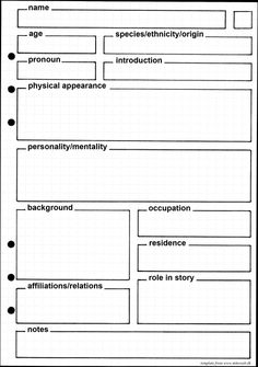 Template for character profiles. The square in the upper right corner can be used for numbering or the like (I colour code to keep track of the novel each character belongs to).
