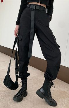 Army Cargo Pants with Buckles Army Cargo Pants with Buckles Teen Fashion Outfits, Edgy Outfits, Grunge Outfits, Retro Outfits, Korean Outfits, Fashion Pants, Army Cargo Pants, Cargo Pants Outfit, Cargo Pants Women