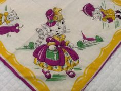 Love yellow, but purple & green are so NOT my colors BUT I still need this!!!!!! -- Vintage Child's Hankie Childs Hankie Hankerchief Mom Cat by PugMug, $17.00