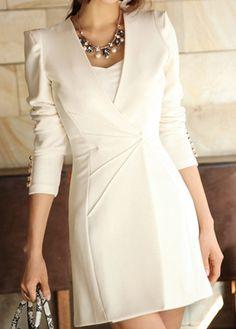 High Quality Elegant Solid Long Sleeve A Line Dress - White