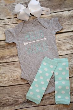 Newborn baby girl coming home outfit, take home, hello world, mint, aqua, gray, new baby, baby girl onesie, newborn outfit, legwarmers
