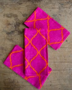 Kim Seybert Designs   Kim Seybert Pink/Orange Tile Napkin   The Picket Fence