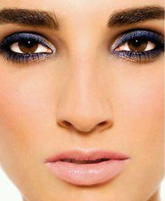 Brown eyes  dark eyebrows  navy liner, love it.