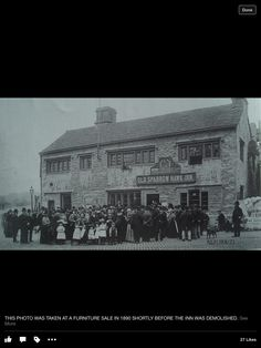 Built in the middle of the 16th century the Old Sparrow Hawk Inn had an adjoining house and a blacksmiths behind it. It was demolished in 1890 and replaced by a new building in 1896. The group of people gather outside as the Inns contents are auctioned off. The church wardens of saint Peters conducted the auction and helped provide refreshments. Burnley, Furniture Sale, 16th Century, Blacksmithing, Contents, Buildings, Old Things, Louvre, Middle