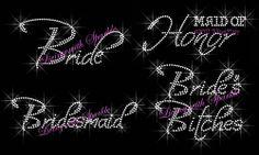 BRIDESMAID RHINESTONE IRON ON TRANSFER FOR SHIRT HOTFIX