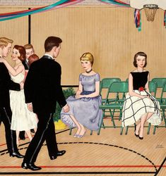 """https://flic.kr/p/aB5y3g   Amos Sewell   If I were the guy, I would sit down between them and say """"I want to dance with each of you"""". And I would extend a hand to each. The first one to grab my hand get the first dance. But I dance with both. This painting was on the cover of the Saturday Evening Post in January 1960."""