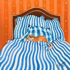 Kočička v modrých peřinách by Zuzana.Honsova - SAShE.sk - Handmade Obrazy - folk painting