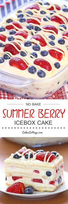 No Bake Summer Berry Icebox Cake Looking for a quick and easy Summer dessert recipe? Try out delicious No Bake Summer Berry Icebox Cake ! - Looking for a quick and easy Summer dessert recipe? Try out delicious No Bake Summer Berry Icebox Cake ! Dessert Oreo, Coconut Dessert, Brownie Desserts, Dessert For Bbq, Dessert Healthy, Cheesecake Desserts, Raspberry Cheesecake, Pumpkin Cheesecake, Easy Summer Desserts