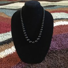 Necklace Beautiful single strand beaded hand made necklace, black. Basic Sophistication Jewelry Necklaces