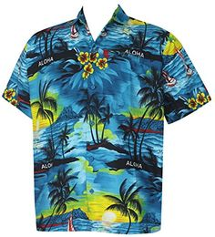 7b3e8e616 La Leela Matching hawaiian shirt and dresses mens 70s 80s 90s retro Vintage  Island mens Shirt XS Blue Fathers Day Gifts Spring Summer 2017 at Amazon  Men s ...