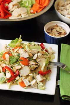 Cool off with this super easy, super make-ahead Asian Chicken Noodle Salad. It's full of crisp, crunchy veggies, hearty chicken, and a delectable dressing.
