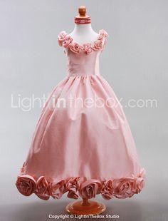A-line Scoop Floor-length Taffeta Flower Girl Dress - USD $ 119.99
