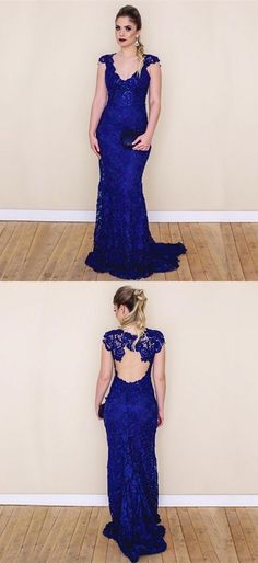 a09fc0c03ada elegant royal blue lace mermaid prom dresses, simple Blue Lace Prom Dress, Mermaid  Prom