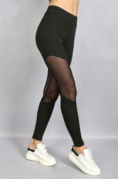 A pair of active leggings featuring sheer mesh panels and high-waisted elasticized waistline. Printed Leggings, Women's Leggings, Yoga Pants, Gym Pants, Running Leggings, Spanx, Dance Outfits, Physical Fitness, Workout Leggings
