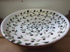 Wheelthrown bowl with olive design