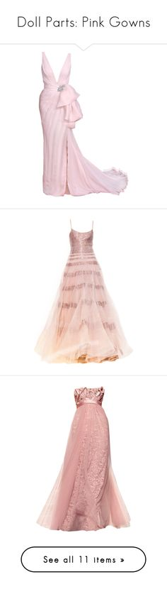 """""""Doll Parts: Pink Gowns"""" by itsablingthing ❤ liked on Polyvore featuring dresses, gowns, long dresses, vestidos, pink, pink gown, pink dress, pink evening dress, long pink dress and dolls"""
