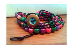 Big Blue Button Multicolor Beads with Black Hemp by AnABazaar, $5.99