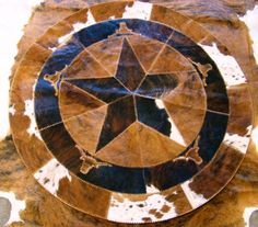 Cowhide Round Placemat With Star 19 Quot Rnd Rustics Yeah