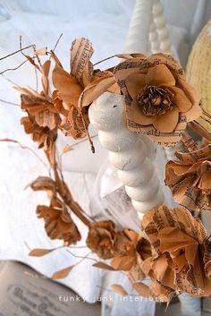 paper music sheet flower wreath / Funky Junk Interiors