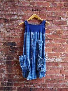 Artisan Smock Dress in Indigo Blue/Upcycled by RebirthRecycling, $65.00