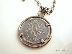 Lucky Penny Necklace Canadian penny Custom made by ViaPrairie